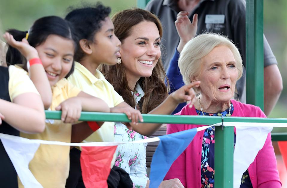 "WOKING, ENGLAND - SEPTEMBER 10:  Catherine, Duchess of Cambridge, Mary Berry (R) and children attend the ""Back to Nature"" festival at RHS Garden Wisley on September 10, 2019 in Woking, England. (Photo by Chris Jackson/Getty Images)"