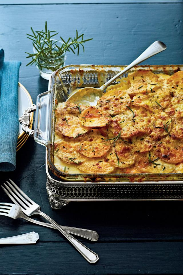 "<p><strong>Recipe:</strong> <a href=""http://www.myrecipes.com/recipe/butternut-squash-gratin-50400000124703/"" target=""_blank""><strong>Butternut Squash Gratin</strong></a></p> <p>Slice the potatoes as you use them in each layer (rather than all at once), to help prevent oxidation.</p>"
