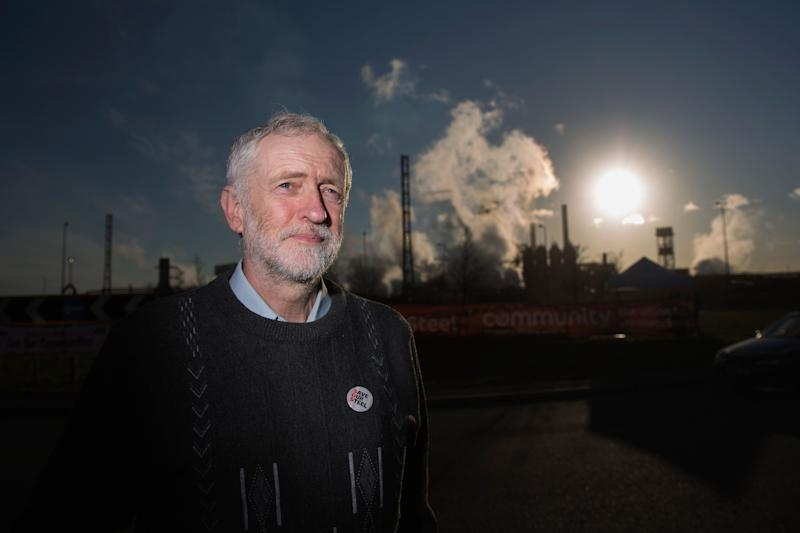 PORT TALBOT, WALES - MARCH 30: Labour leader Jeremy Corbyn poses for the media outside the Tata Steel plant on March 30, 2016 in Port Talbot, Wales. Indian owners Tata Steel put its British business up for sale yesterday, placing thousands of jobs at risk and hitting the already floundering UK steel industry. (Photo by Christopher Furlong/Getty Images)