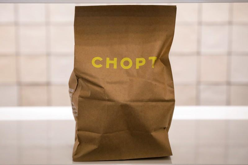An order is placed out for pickup at the newest Chopt Creative Salad Co., location in New York