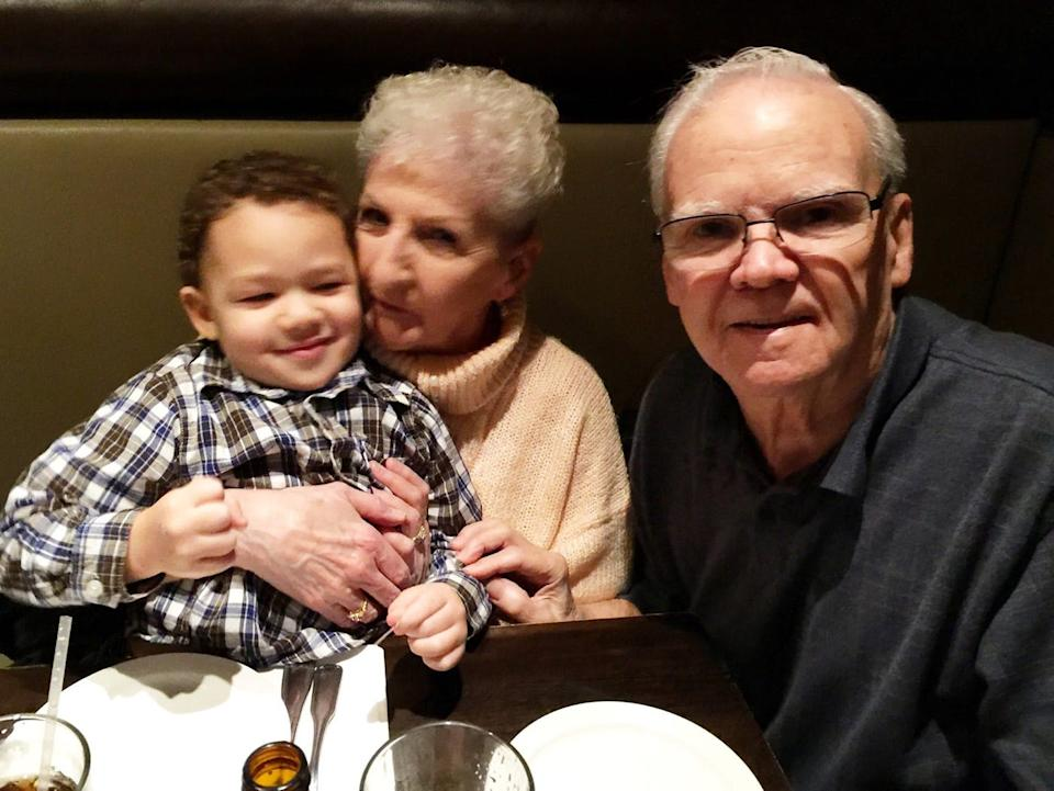 Janet Gingras, center, died on Nov. 29, 2020, after contracting COVID-19. Here, she is pictured with her husband, Richard,  and their great-grandson, Connor Morrison.