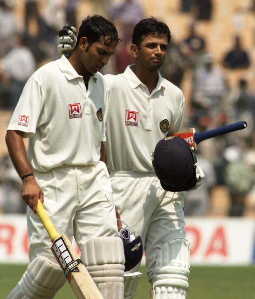 14 Mar 2001:   VVS Laxman (left) and Rahul Dravid of India leave the field at lunch, during day four of the 2nd Test between India and Australia played at Eden Gardens, Calcutta, India. X DIGITAL IMAGE  Mandatory Credit: Hamish Blair/ALLSPORT