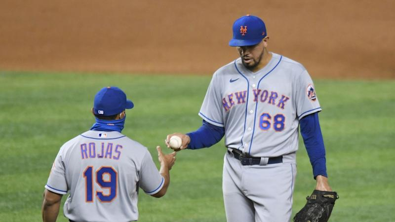 Dellin Betances hands ball over to Luis Rojas