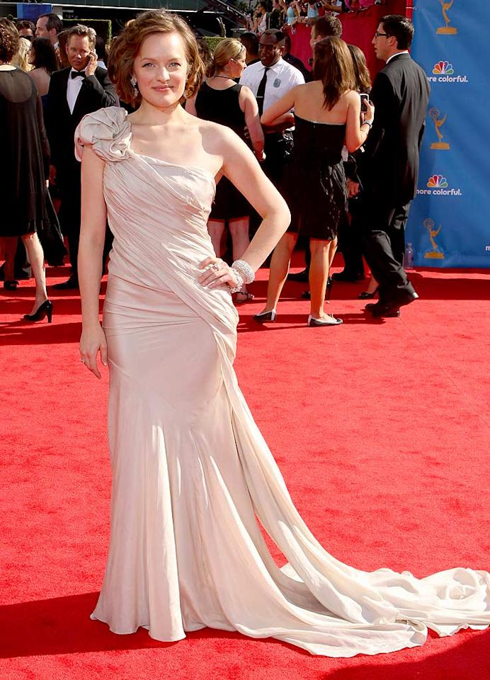 """Elisabeth Moss<br> Grade: B<br><br> In contrast, January's """"Mad Men"""" co-star, who was nominated for Outstanding Supporting Actress in a Drama, was smart to play it safe in a one-shoulder Donna Karan goddess gown."""