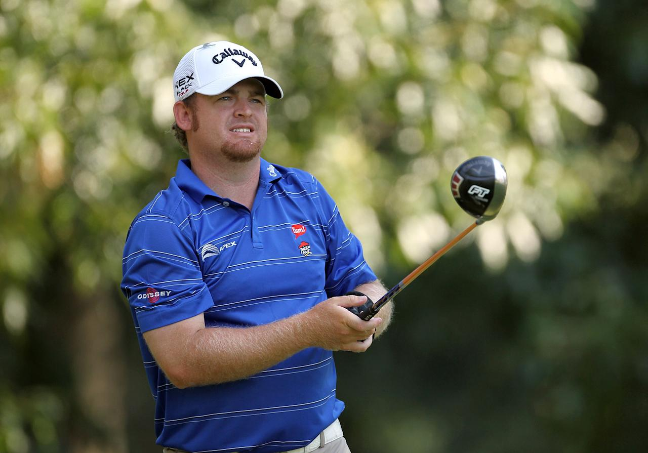 MEMPHIS, TN - JUNE 08:  J.B. Holmes hits his tee shot on the par 4 5th hole during round two of the FedEx St. Jude Classic at TPC Southwind on June 8, 2012 in Memphis, Tennessee.  (Photo by Andy Lyons/Getty Images)