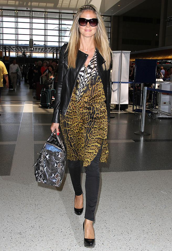 Heidi Klum leaves LAX on her way to Frankfurt.