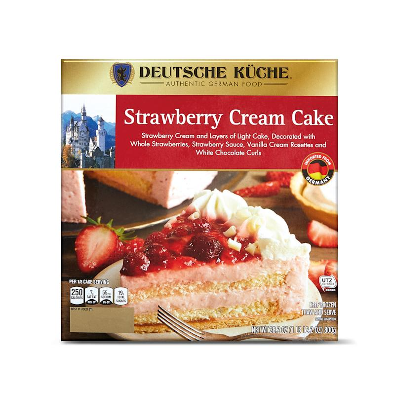 Strawberry Cream Cake package on white background