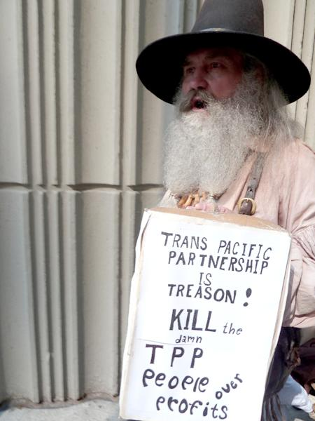 A demonstrator protests outside the Westin Peachtree Plaza Hotel in Atlanta, Georgia (AFP Photo/Paul Handley )