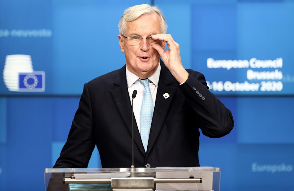 Michel Barnier speaking at his press conference following the meeting (AFP via Getty Images)