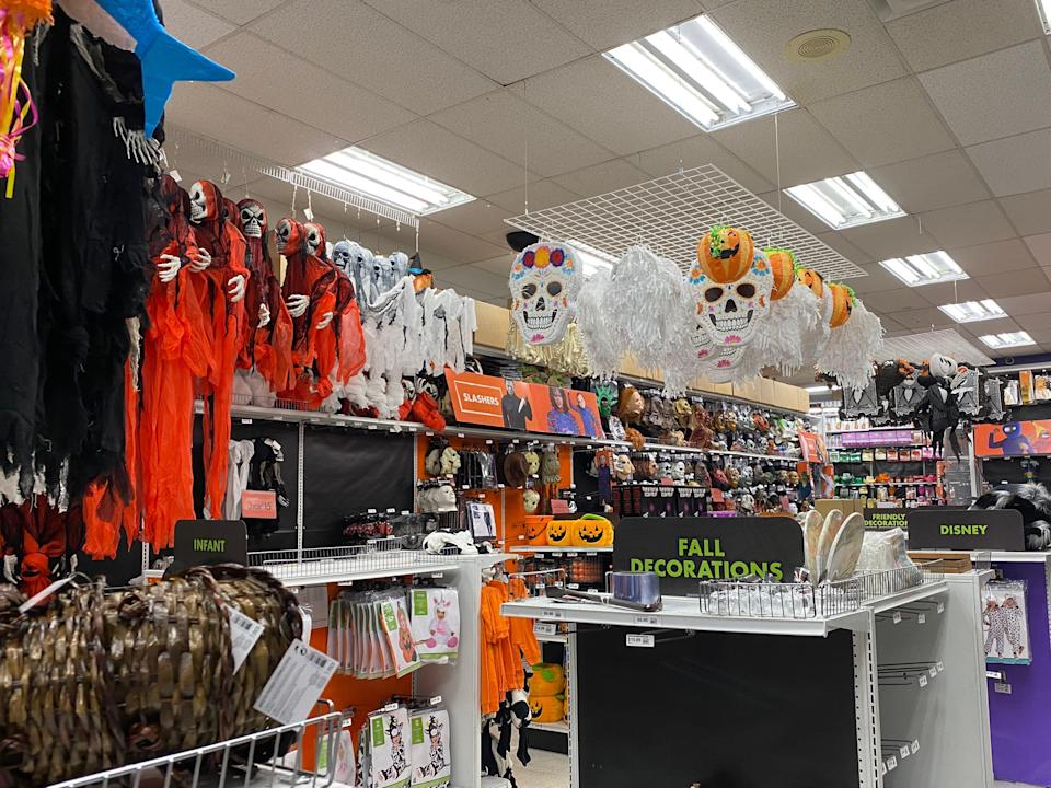 The Halloween decorations hanging from the ceiling at Party City