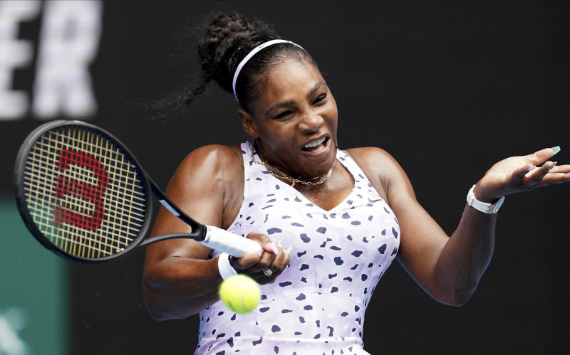 United States' Serena Williams makes a forehand return to Russia's Anastasia Potapova during their first round singles match at the Australian Open tennis championship in Melbourne, Australia, Monday, Jan. 20, 2020. (AP Photo/Lee Jin-man)