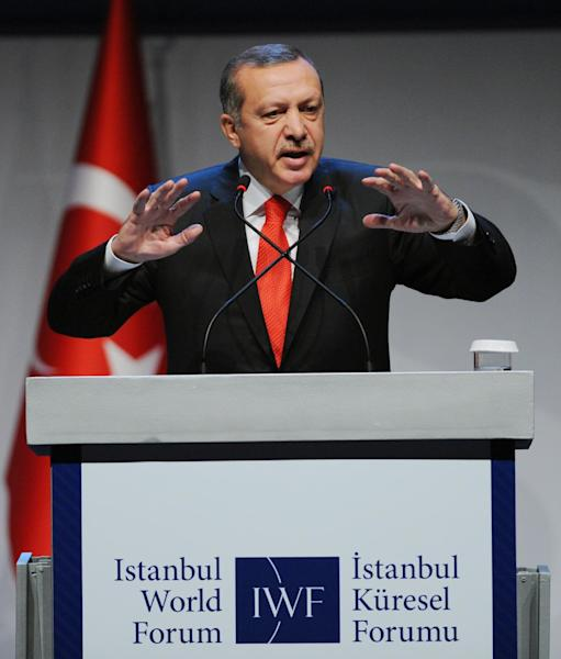 Turkey's Prime Minister Recep Tayyip Erdogan addresses a forum in Istanbul, Turkey, Saturday, Oct. 13, 2012. Turkey's prime minister sharply criticized the U.N. Security Council on Saturday for its failure to agree on decisive steps to end the 19-month civil war in Syria. (AP Photo)