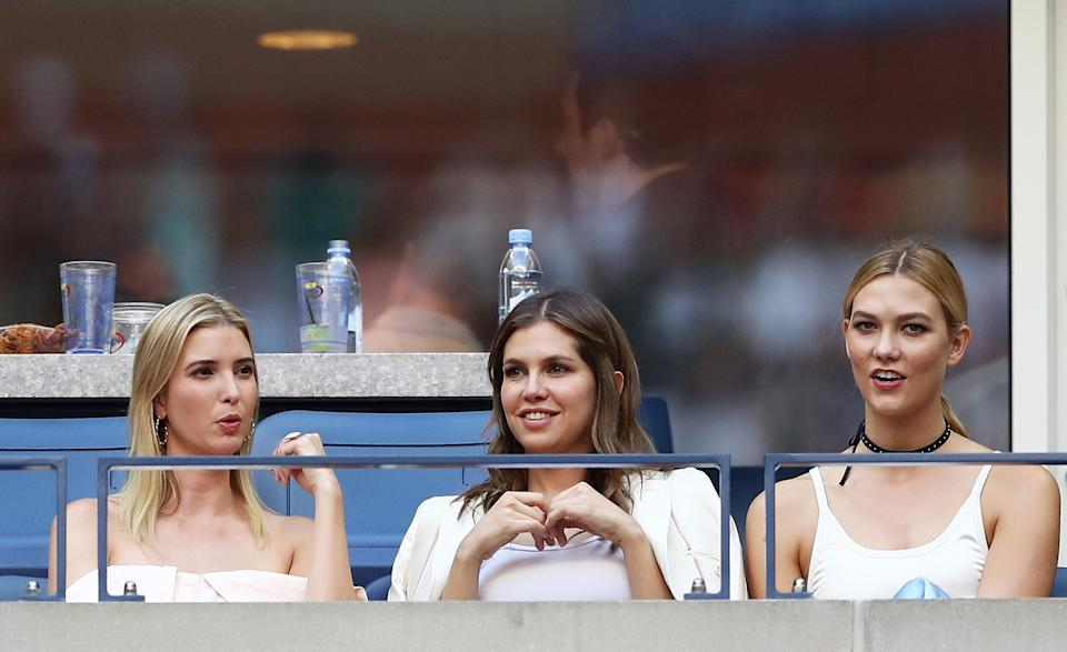 NEW YORK, NY - SEPTEMBER 11: (L-R) Businesswoman Ivanka Trump,  business woman Dasha Zhukova, and model Karlie Kloss attend the Men's Singles Final Match between Novak Djokovic of Serbia and Stan Wawrinka of Switzerland on Day Fourteen of the 2016 US Open at the USTA Billie Jean King National Tennis Center on September 11, 2016 in the Flushing neighborhood of the Queens borough of New York City.  (Photo by Elsa/Getty Images)