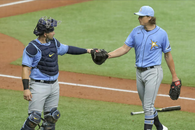 The Rays' Tyler Glasnow, right, posted an eye-popping 1.78 ERA in an injury-shortened 2019. (AP Photo/Mike Carlson)