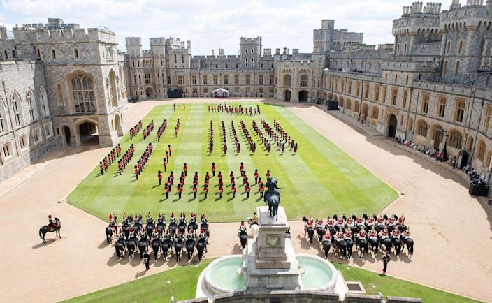 <p>The Trooping the Colour military ceremony in the Quadrangle of Windsor Castle. </p>