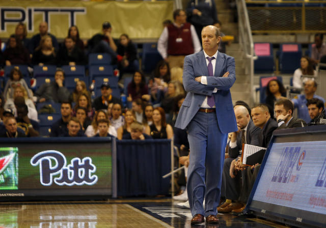 "PITTSBURGH, PA – FEBRUARY 24: Head coach Kevin Stallings of the <a class=""link rapid-noclick-resp"" href=""/ncaab/teams/pal/"" data-ylk=""slk:Pittsburgh Panthers"">Pittsburgh Panthers</a> looks on against the <a class=""link rapid-noclick-resp"" href=""/ncaab/teams/vaf/"" data-ylk=""slk:Virginia Cavaliers"">Virginia Cavaliers</a> at Petersen Events Center on February 24, 2018 in Pittsburgh, Pennsylvania. (Photo by Justin K. Aller/Getty Images)"