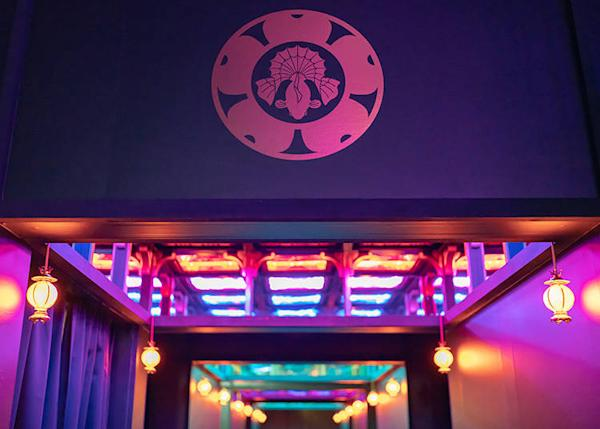 """""""Kingyo in the Sky"""": Above the colorful entranceway, goldfish greet you!"""