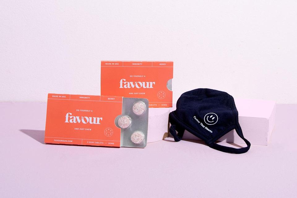 """<p>CBD has become a popular stress-reliever and sleep aid. Favour Gum promises consistent dose delivery and fresher breath. For your CBD-curious pal, the Immunity Bundle comes with two packs, plus a face mask made in collaboration with Reuse Masks, LA.</p> <p><strong>Buy It!</strong> Favour Immunity Bundle, $52, <a href=""""https://www.favourgum.com/products/immunity-bundle"""" rel=""""nofollow noopener"""" target=""""_blank"""" data-ylk=""""slk:favourgum.com"""" class=""""link rapid-noclick-resp"""">favourgum.com</a></p>"""
