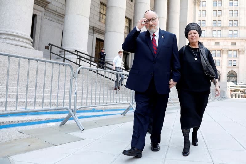 FILE PHOTO: Jonathan Pollard, a former U.S. Navy intelligence officer convicted of spying for Israel, exits following a hearing at the Manhattan Federal Courthouse in New York