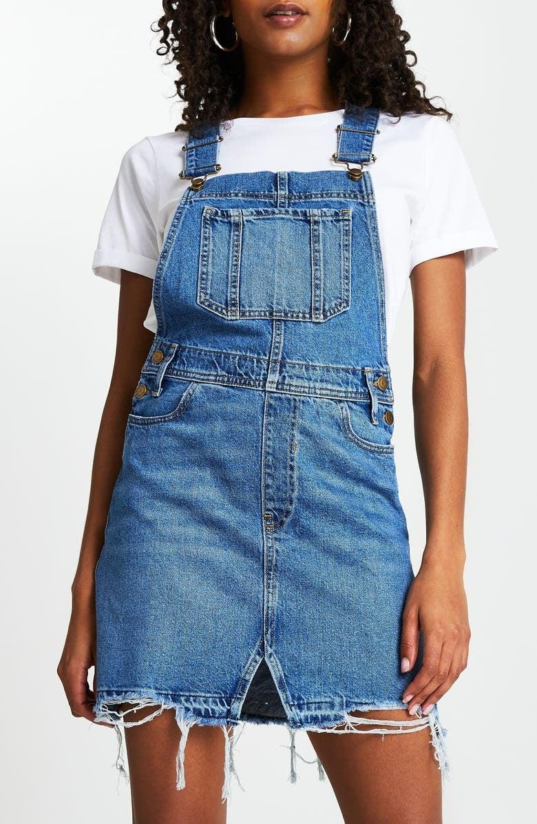 <p>Because overalls are never a bad idea, get the <span>River Island Denim Pinafore Dress</span> ($85).</p>