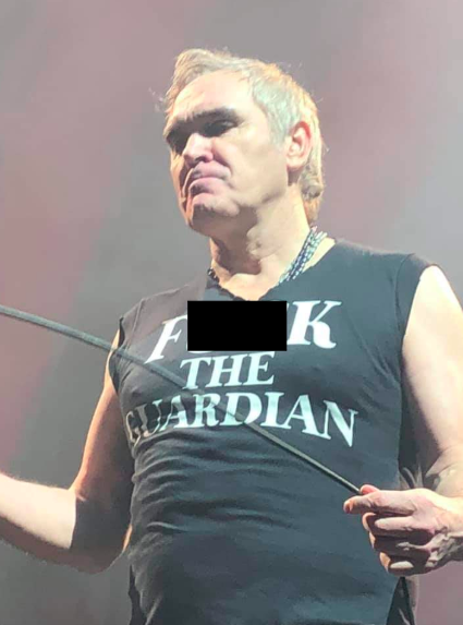 The former Smiths frontman makes clear his disdain for The Guardian newspaper during a performance at the Hollywood Bowl in Los Angeles, 26 October 2019.