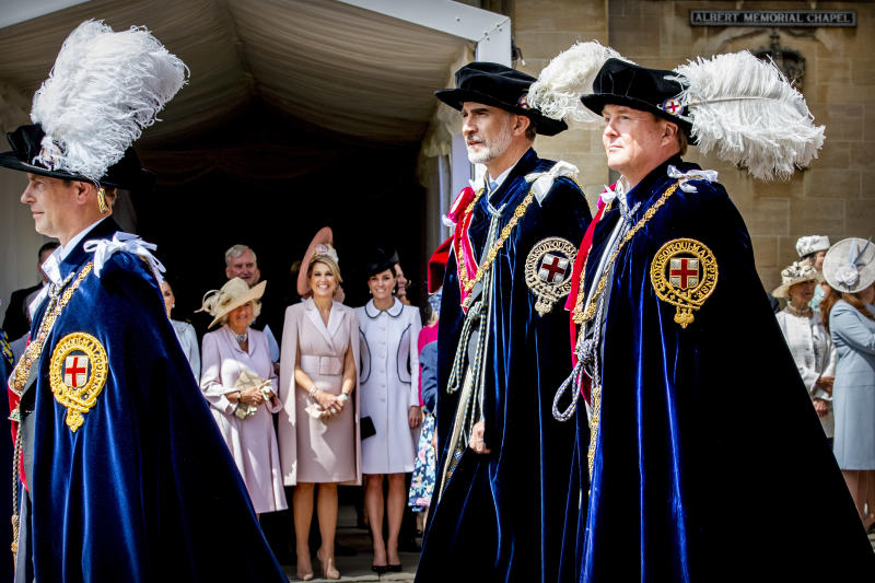 WINDSOR, ENGLAND - JUNE 17: King Willem-Alexander of The Netherlands, King Felipe of Spain, Edward Earl of Wessex at St George's Chapel on June 17, 2019 in Windsor, England. (Photo by Patrick van Katwijk/Getty Images)