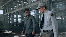 <p>The actor pops up in a comedic cameo as a gobsmacked security guard who can't believe his eyes when the Hulk falls out of the sky and transforms into Bruce Banner (Mark Ruffalo).<br><br>(Photo: Disney) </p>