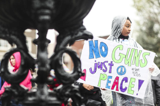 "<p>Camryn Fidilio, 7, of Bowling Green, holds a sign during the ""March for Our Lives"" on Saturday, March 24, 2018, outside of Cherry Hall at Western Kentucky University in Bowling Green, Ky. Summoned to action by student survivors from Marjory Stoneman Douglas High School in Parkland, Fla., hundreds of thousands of teenagers and their supporters rallied in the nation's capital and cities across the U.S. on Saturday to press for gun control. (Austin Anthony/Daily News via AP) </p>"