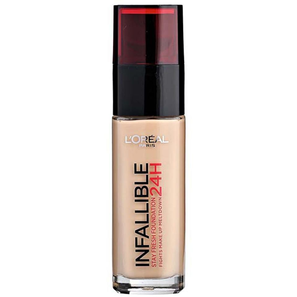"""<p><strong>L'Oréal Paris</strong></p><p>lorealparisusa.com</p><p><strong>$14.99</strong></p><p><a href=""""https://www.lorealparisusa.com/products/makeup/face/foundation-makeup/infallible-24-hour-fresh-wear-foundation-lightweight.aspx"""" target=""""_blank"""">Shop Now</a></p><p>This ultra-fluid foundation seamlessly blends into skin, comes in 40 shades, and can be picked up at your local drugstore. Check, check, and check.</p>"""