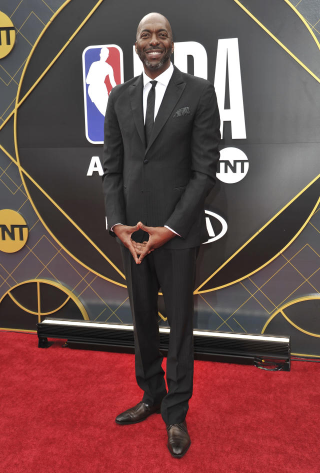 John Salley arrives at the NBA Awards on Monday, June 24, 2019, at the Barker Hangar in Santa Monica, Calif. (Photo by Richard Shotwell/Invision/AP)