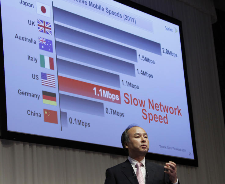 In this Monday, Oct. 15, 2012 photo, Softbank Corp. President Masayoshi Son speaks during a joint press conference with Sprint Nextel Corp. Chief Executive Dan Hesse in Tokyo when he announced Tokyo-based mobile carrier Softbank has reached a deal with Sprint to acquire 70 percent of the U.S. wireless company for $20.1 billion in the largest ever foreign acquisition by a Japanese company. The unlikely success story of Son has taken another leap with his latest mega-deal, announced Monday. (AP Photo/Koji Sasahara)