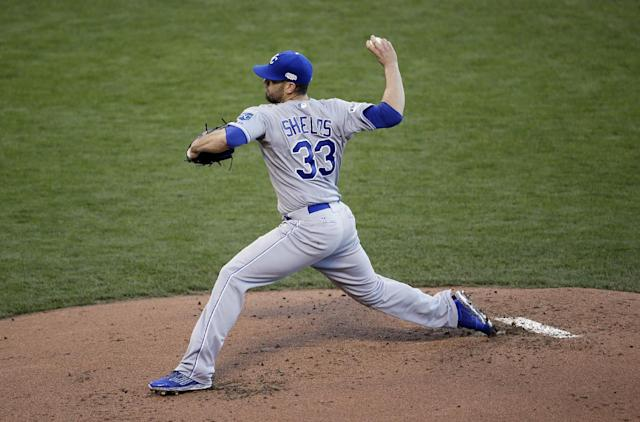 Kansas City Royals pitcher James Shields throws during the first inning of Game 5 of baseball's World Series against the San Francisco Giants Sunday, Oct. 26, 2014, in San Francisco. (AP Photo/Eric Risberg)
