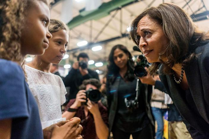 <p>In March 2019, Harris paused to chat with some young girls while holding a a town hall event in North Las Vegas, Nevada. </p>