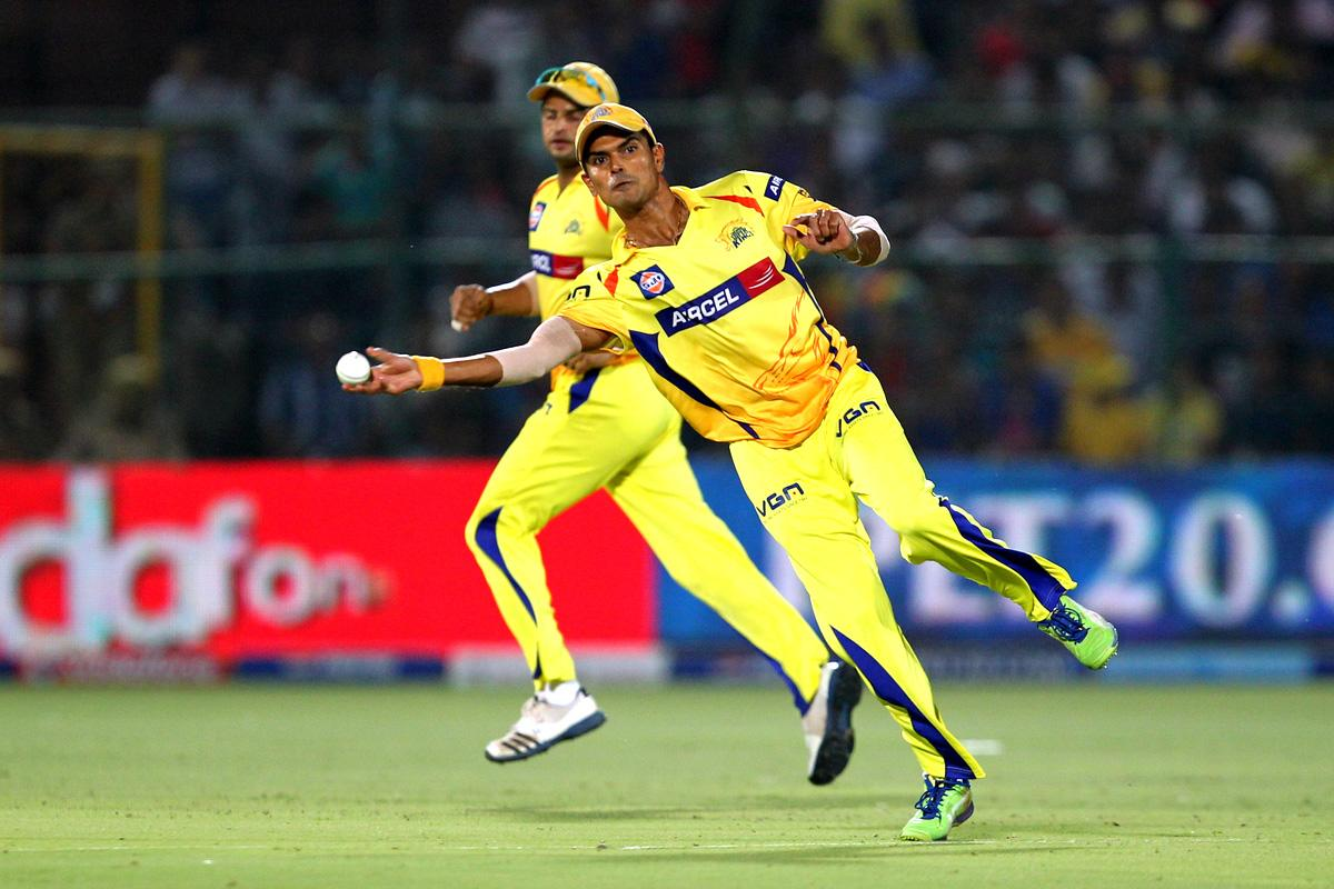 S. Badrina during match 61 of the Pepsi Indian Premier League ( IPL) 2013  between The Rajasthan Royals and the Chennai Super Kings held at the Sawai Mansingh Stadium in Jaipur on the 12th May 2013 (BCCI)