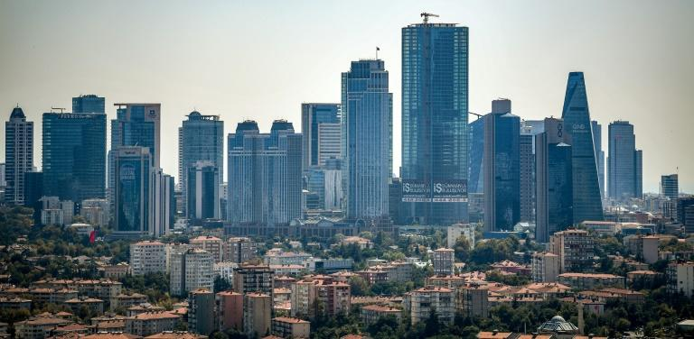 The skyline of Istanbul's financial and business district Maslak