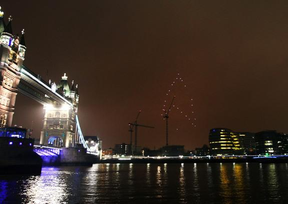 "The ""Star Trek"" logo lights up the London skyline on March 23, 2013 to mark ""Earth hour"" and promote the upcoming film ""Star Trek: Into Darkness."""