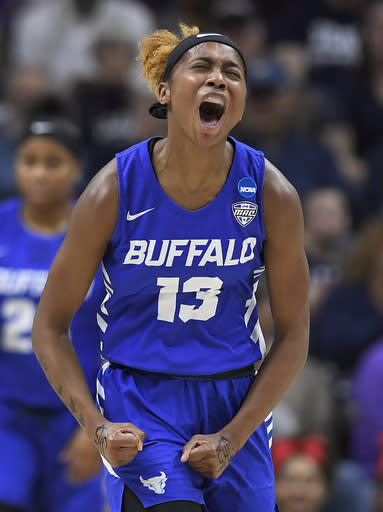 Buffalo's Autumn Jones (13) reacts during the first half of a second-round women's college basketball game against Connecticut in the NCAA tournament, Sunday, March 24, 2019, in Storrs, Conn. (AP Photo/Jessica Hill)
