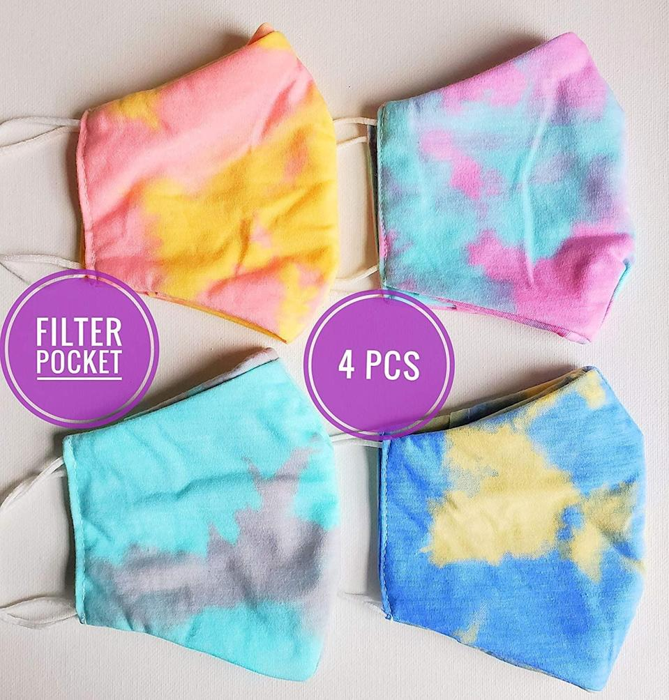 <p>Everything is better when it's tie-dyed, right? <span>These colorful face masks</span> ($30, originally $35) from Amazon come in a variety of fun tie-dyed colors, from yellow and blue to turquoise and gray. They are all made with soft, double-layered fabric that is stretchy to fit over any face shape. </p>