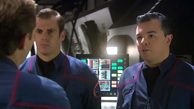 <p>These days, MacFarlane pilots the <em>Trek</em>-inspired Fox sci-fi series, <em>The Orville</em>. Back in 2004, though, he boldly went into the Delphic Expanse as fresh-faced Enterprise ensign, Rivers. Is it a coincidence that Captain Mercer kind of rhymes with Captain Archer?<br><br>(Photo: CBS) </p>