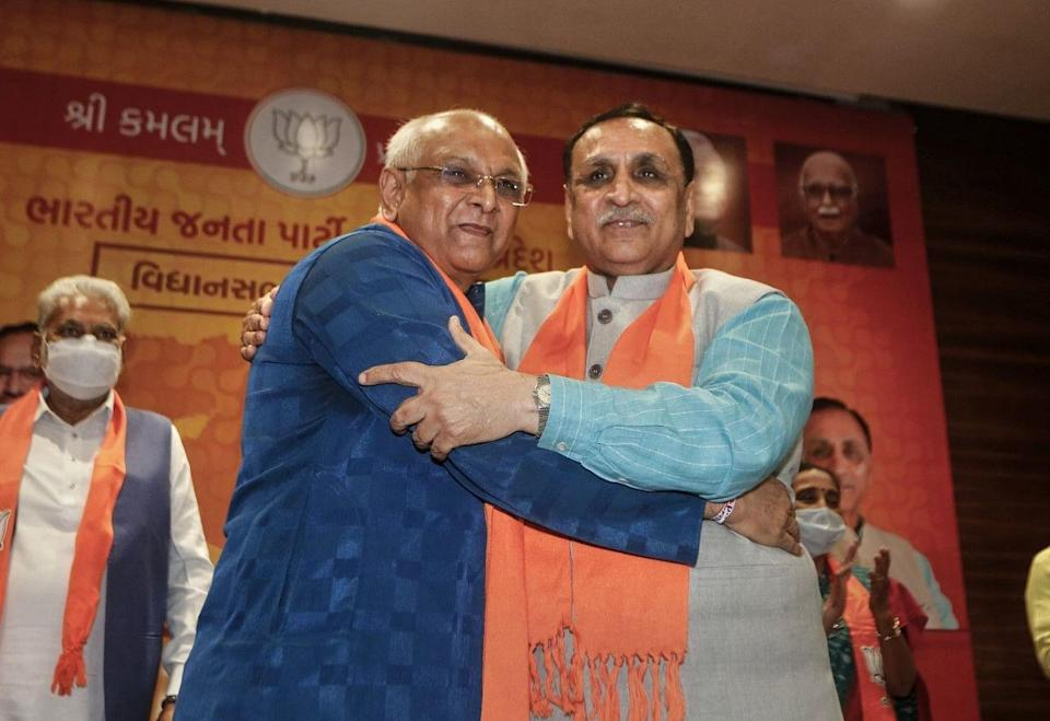 """<div class=""""paragraphs""""><p> Senior BJP leader Bhupendra Patel (left), who succeeded Vijay Rupani (right) as the Chief Minister of Gujarat, after a meeting in Gandhinagar on Sunday, 12 September.</p></div>"""