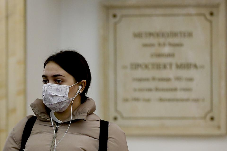 MOSCOW, RUSSIA - MARCH 16: A woman wears a medical mask as a preventive measure against the coronavirus (Covid-19) outbreak in Moscow, Russia, on March 16, 2020. (Photo by Sefa Karacan/Anadolu Agency via Getty Images)