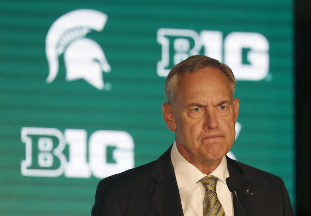 Michigan State head coach Mark Dantonio listens to a question during the Big Ten Conference NCAA college football media days Thursday, July 18, 2019, in Chicago. (AP Photo/Charles Rex Arbogast)
