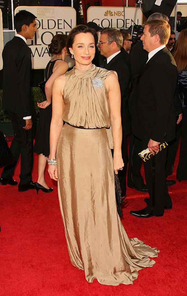 "Kristin Scott Thomas (""I've Loved You So Long"") glammed up her gown with a sparkling brooch. Vince Bucci/<a href=""http://www.wireimage.com"" target=""new"">WireImage.com</a> - January 11, 2009"