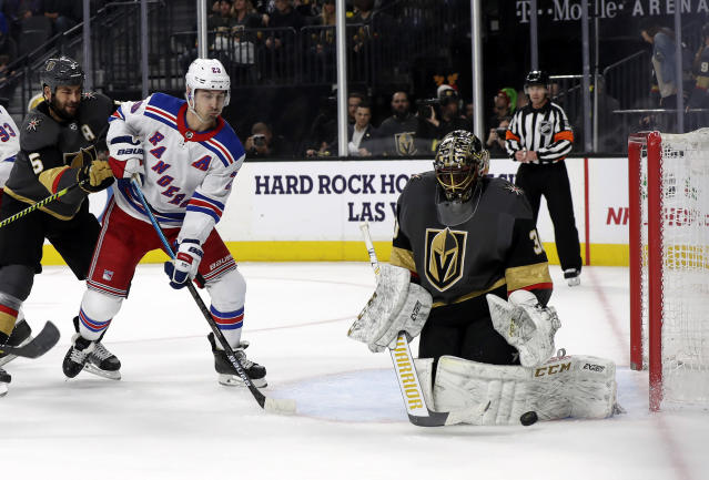 Vegas Golden Knights goalie Malcolm Subban (30) makes a save against the New York Rangers during the first period of an NHL hockey game Sunday, Dec. 8, 2019, in Las Vegas. (AP Photo/Isaac Brekken)