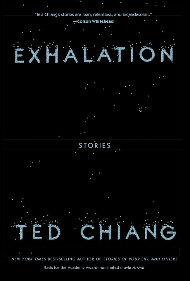 """<ul> <strong>What it's about:</strong> In this collection of sci-fi stories, Chiang explores the meaning of humanity and hypothesizes the existence of alternate universes.</ul> <p><a href=""""https://www.barnesandnoble.com/w/exhalation-ted-chiang/1129288493?ean=9781101947883#/"""" target=""""_blank"""" class=""""ga-track"""" data-ga-category=""""Related"""" data-ga-label=""""https://www.barnesandnoble.com/w/exhalation-ted-chiang/1129288493?ean=9781101947883#/"""" data-ga-action=""""In-Line Links""""><strong>Exhalation</strong> by Ted Chiang</a> ($21, originally $26)</p>"""