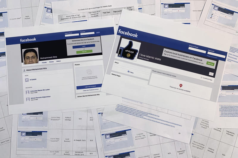 Pages from a confidential whistleblower's report obtained by The Associated Press, along with two printed Facebook pages that were active on Tuesday, Sept. 17, 2019, are photographed in Washington. Facebook likes to say that its automated systems remove the vast majority of prohibited content glorifying the Islamic State group and al-Qaida before it's reported. But a whistleblower's complaint shows that Facebook itself has inadvertently produced dozens of pages in their names. (AP Photo/Jon Elswick)