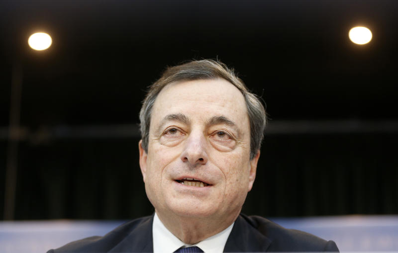 President of European Central Bank, ECB, Mario Draghi speaks during a news conference in Frankfurt, Germany, Thursday, Dec. 5, 2013, following a meeting of the ECB governing council. The European Central Bank has cut its inflation forecast for next year, another sign of how weak the economic recovery is in the 17 countries that use the euro. The ECB cut the forecast to 1.1 percent from the previous 1.3 percent forecast. (AP Photo/Michael Probst)