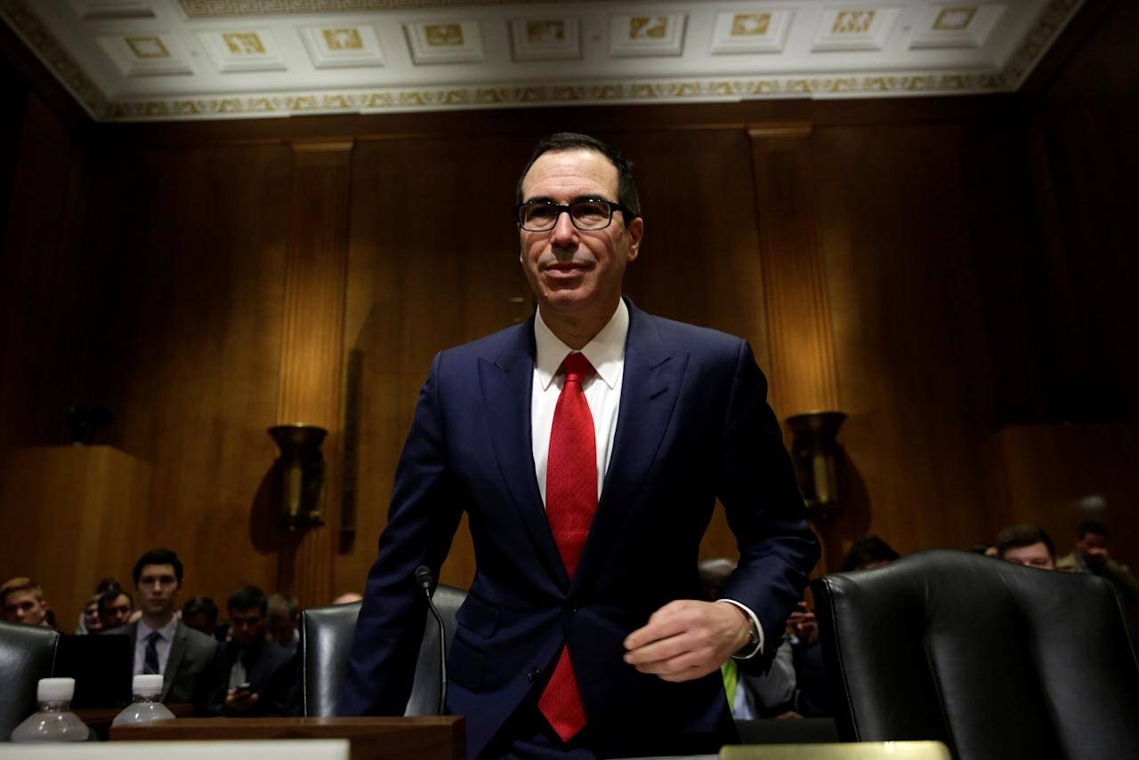 Treasury Secretary Steve Mnuchin arrives to testify before a Senate Finance Committee hearing on FY2018 Budget Proposals on Capitol Hill in Washington, U.S., May 25, 2017. REUTERS/Yuri Gripas