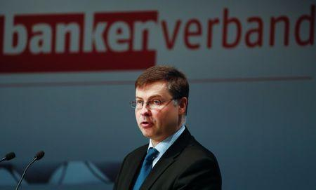 European Commission Vice-President Valdis Dombrovskis attends the German Banking Congress in Berlin