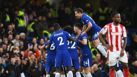 Chelsea after Rudiger goal versus Stoke City